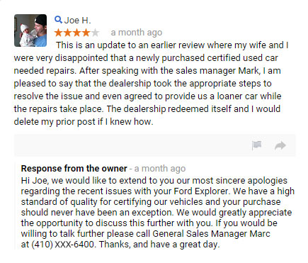 Deal in a proper manner with Bad Review