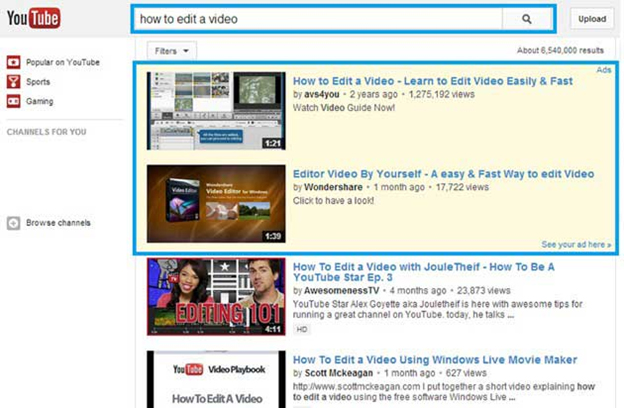 In Search Video Ads